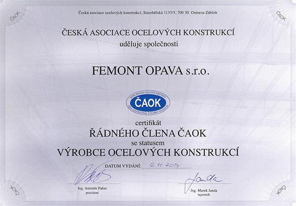 Řádný člen ČAOK FEMONT OPAVA s.r.o.
